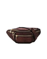 Темно-коричневая кожаная поясная сумка