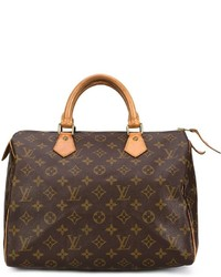 Женская темно-коричневая кожаная спортивная сумка с принтом от Louis Vuitton