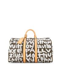 Женская темно-коричневая кожаная спортивная сумка с принтом от Louis Vuitton Vintage