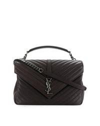 Темно-коричневая кожаная стеганая сумка через плечо