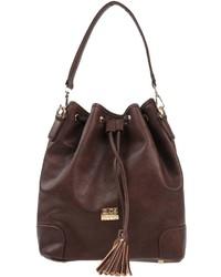 Темно-коричневая кожаная сумка-мешок