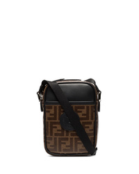 Темно-коричневая кожаная сумка почтальона с принтом
