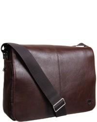 Темно-коричневая кожаная сумка почтальона
