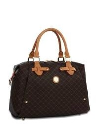 Темно-коричневая кожаная сумка-саквояж с принтом