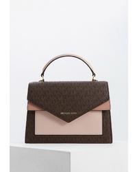 Темно-коричневая кожаная сумка-саквояж с принтом от MICHAEL Michael Kors