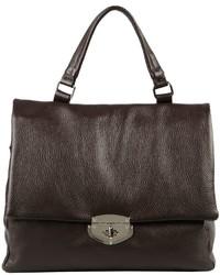 Темно-коричневая кожаная сумка-саквояж