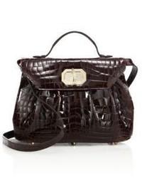 Женская темно-коричневая кожаная сумка-саквояж