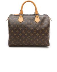 Женская темно-коричневая кожаная сумка-саквояж от Louis Vuitton
