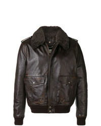 Мужская темно-коричневая короткая дубленка от Saint Laurent