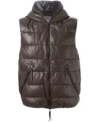 Темно-коричневая куртка без рукавов