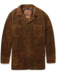 Темно-коричневая куртка с воротником и на пуговицах