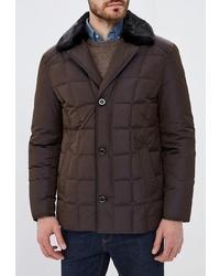 Темно-коричневая куртка с воротником и на пуговицах от Riggi