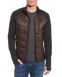Темно-коричневая легкая куртка-пуховик