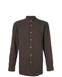 Темно-коричневая льняная рубашка с длинным рукавом