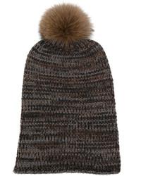 Женская темно-коричневая меховая вязаная шапка от Danielapi