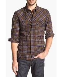 Темно-коричневая рубашка с длинным рукавом в шотландскую клетку