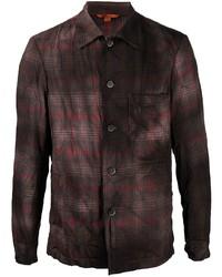 Мужская темно-коричневая рубашка с длинным рукавом в шотландскую клетку от Barena