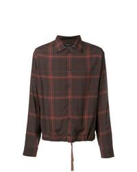 Темно-коричневая рубашка с длинным рукавом с принтом