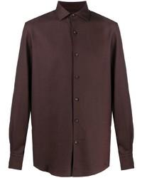 Мужская темно-коричневая рубашка с длинным рукавом от Ermenegildo Zegna