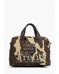 Женская темно-коричневая спортивная сумка из плотной ткани с принтом от Antan