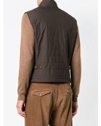Мужская темно-коричневая стеганая куртка без рукавов от Eleventy