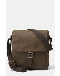 Темно-коричневая сумка почтальона из плотной ткани