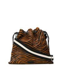 Темно-коричневая сумка через плечо из плотной ткани