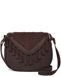 Темно-коричневая сумка через плечо c бахромой