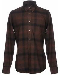 Темно-коричневая фланелевая рубашка с длинным рукавом в клетку
