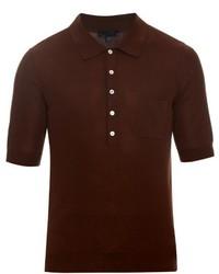Темно-коричневая футболка-поло