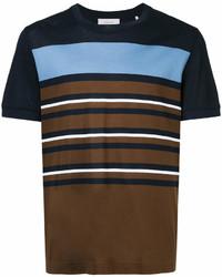 Темно-коричневая футболка с круглым вырезом в горизонтальную полоску