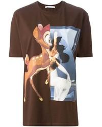 Темно-коричневая футболка с круглым вырезом с принтом
