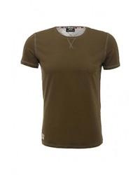 Мужская темно-коричневая футболка с круглым вырезом с принтом от Datch