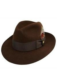 Темно-коричневая шерстяная шляпа