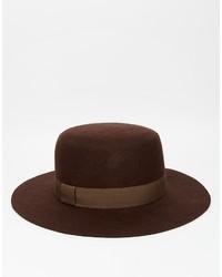 Мужская темно-коричневая шерстяная шляпа от Asos