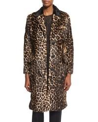 Темно-коричневая шуба с леопардовым принтом