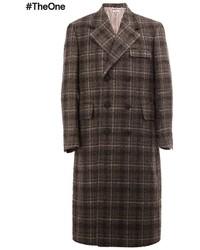 Темно-коричневое длинное пальто в клетку