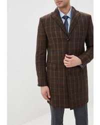 Темно-коричневое длинное пальто в клетку от Bazioni