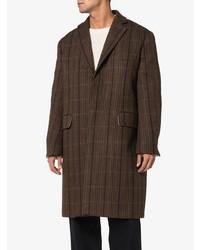 Темно-коричневое длинное пальто в клетку от Calvin Klein 205W39nyc
