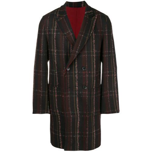 Темно-коричневое длинное пальто в клетку от Etro