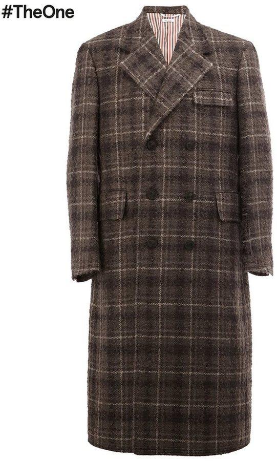 Темно-коричневое длинное пальто в клетку от Thom Browne