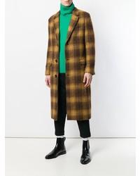 Темно-коричневое длинное пальто в клетку от AMI Alexandre Mattiussi