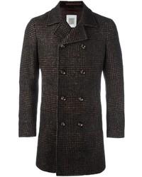 Темно-коричневое длинное пальто в шотландскую клетку