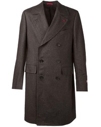 Темно-коричневое длинное пальто