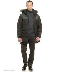 Мужское темно-коричневое длинное пальто от Icepeak