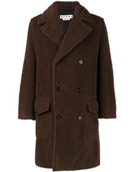 Мужское темно-коричневое длинное пальто от Marni