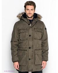 Мужское темно-коричневое длинное пальто от s.Oliver