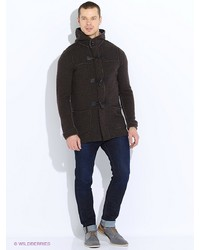 Мужское темно-коричневое длинное пальто от United Colors of Benetton