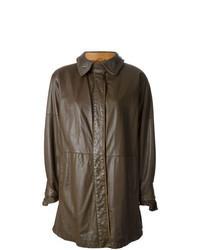 Темно-коричневое кожаное пальто