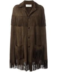 Женское темно-коричневое пальто-накидка c бахромой от Saint Laurent